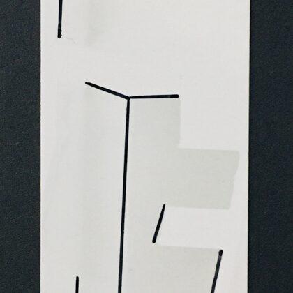 Draw the Line /// pen on print on cardboard (5x16 cm)